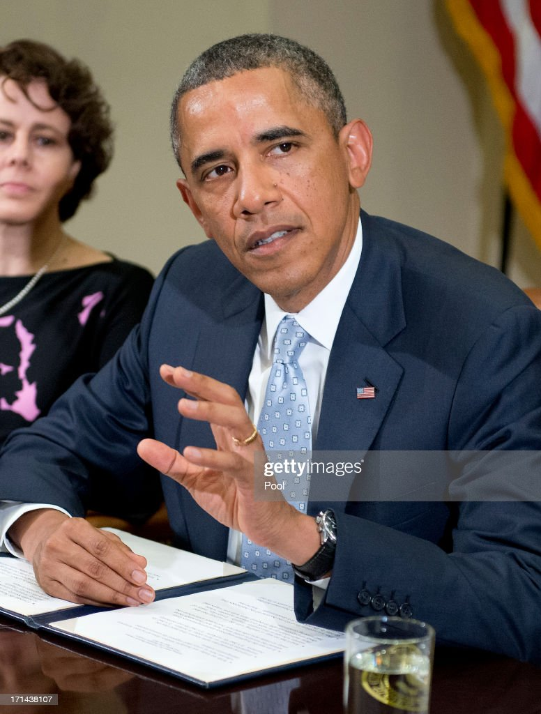 U.S. President <a gi-track='captionPersonalityLinkClicked' href=/galleries/search?phrase=Barack+Obama&family=editorial&specificpeople=203260 ng-click='$event.stopPropagation()'>Barack Obama</a> makes a statement to the press prior to meeting with CEOs, business owners, and entrepreneurs in the Roosevelt Room of the White House to discuss the importance of commonsense immigration reform June 24, 2013 in Washington, DC. Obama met with a collection of business leaders who immigrated to the United States and went on to found successful companies in order to gain support to overhaul the nations immigration system.