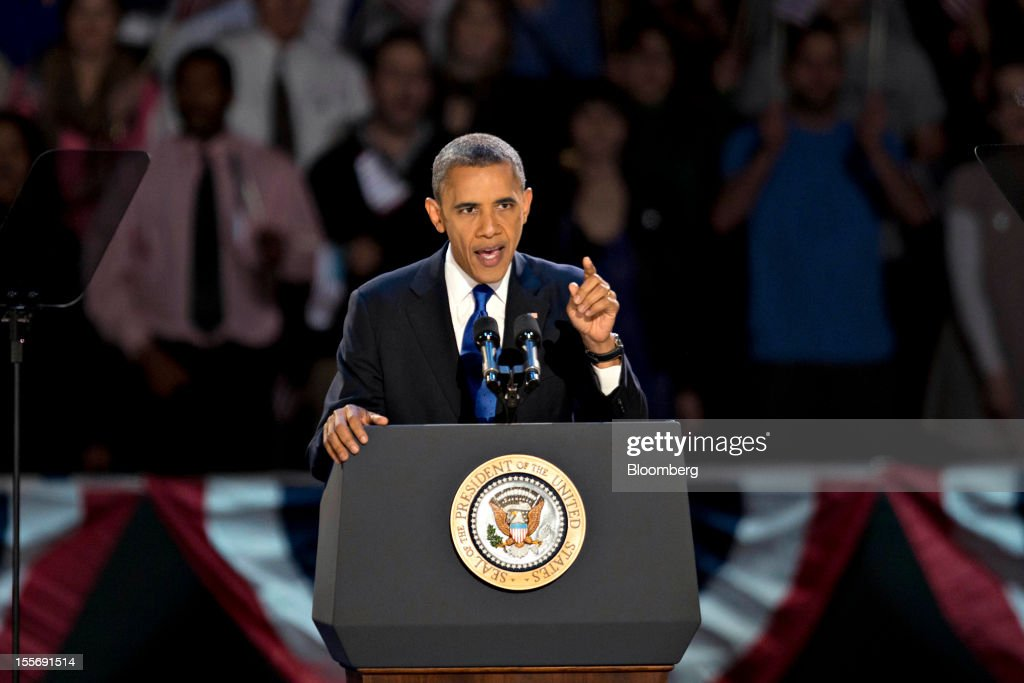U.S. President Barack Obama makes an acceptance speech during an election night rally in Chicago, Illinois, U.S., in the early morning on Wednesday, Nov 7, 2012. Obama, the post-partisan candidate of hope who became the first black U.S. president, won re-election today by overcoming four years of economic discontent with a mix of political populism and electoral math. Photographer: Daniel Acker/Bloomberg via Getty Images