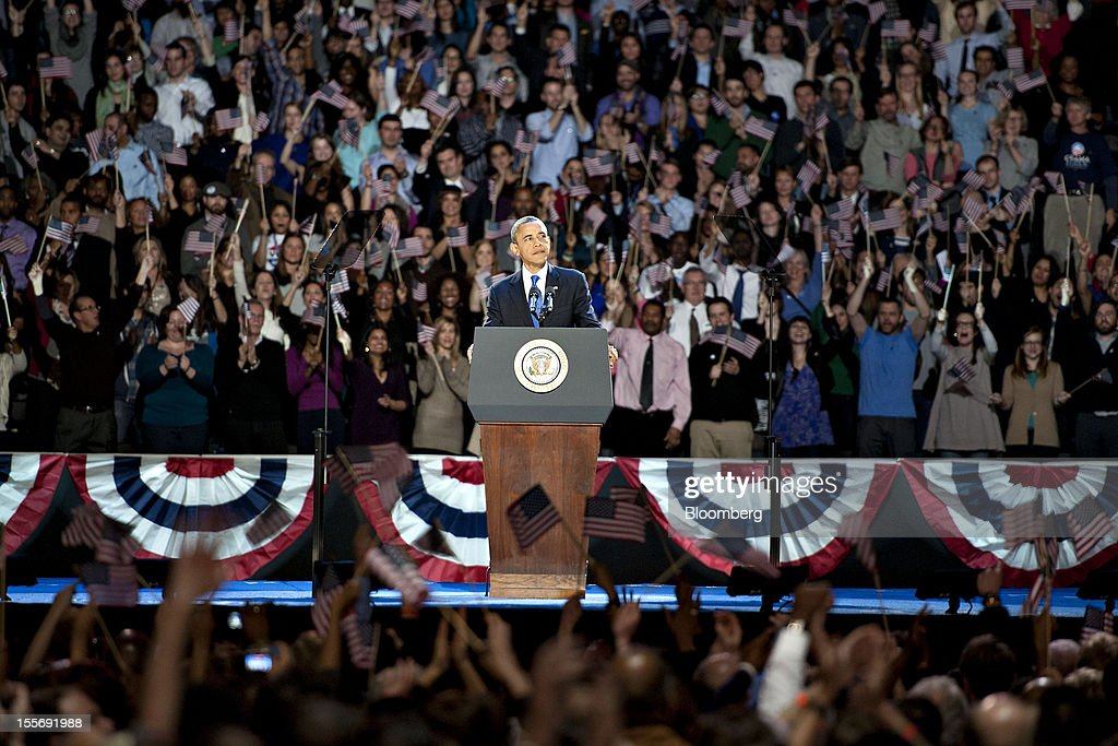 U.S. President Barack Obama makes an acceptance speech during an election night rally in Chicago, Illinois, U.S., in the early morning on Wednesday, Nov. 7, 2012. Obama, the post-partisan candidate of hope who became the first black U.S. president, won re-election today by overcoming four years of economic discontent with a mix of political populism and electoral math. Photographer: Daniel Acker/Bloomberg via Getty Images