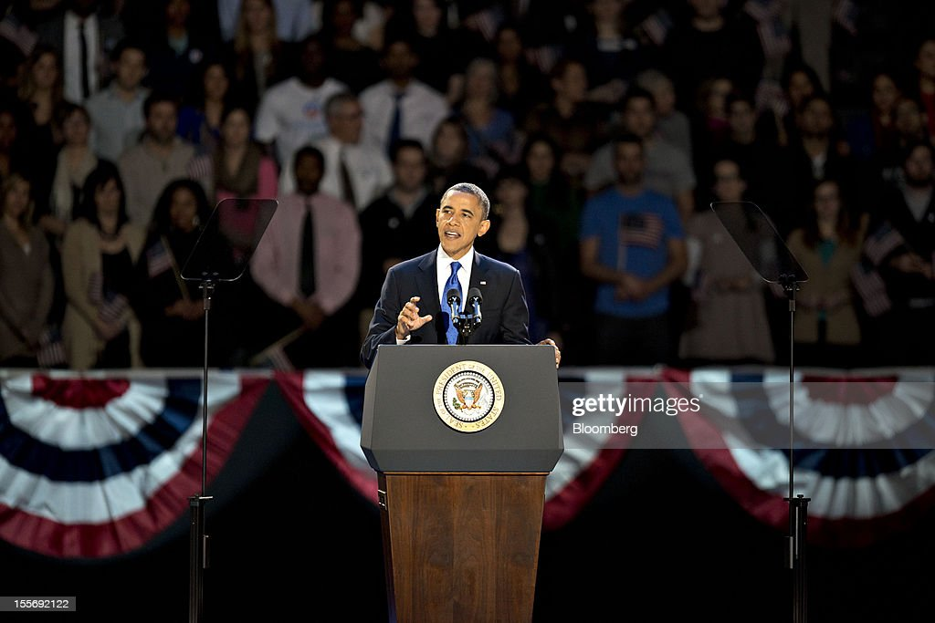 U.S. President <a gi-track='captionPersonalityLinkClicked' href=/galleries/search?phrase=Barack+Obama&family=editorial&specificpeople=203260 ng-click='$event.stopPropagation()'>Barack Obama</a> makes an acceptance speech during an election night rally in Chicago, Illinois, U.S., in the early morning on Wednesday, Nov. 7, 2012. Obama, the post-partisan candidate of hope who became the first black U.S. president, won re-election today by overcoming four years of economic discontent with a mix of political populism and electoral math. Photographer: Daniel Acker/Bloomberg via Getty Images