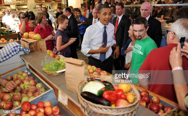 US President Barack Obama makes an unannounced visit to the Reading Terminal Market for a steakncheese sub mint chocolate chip ice cream and apples...
