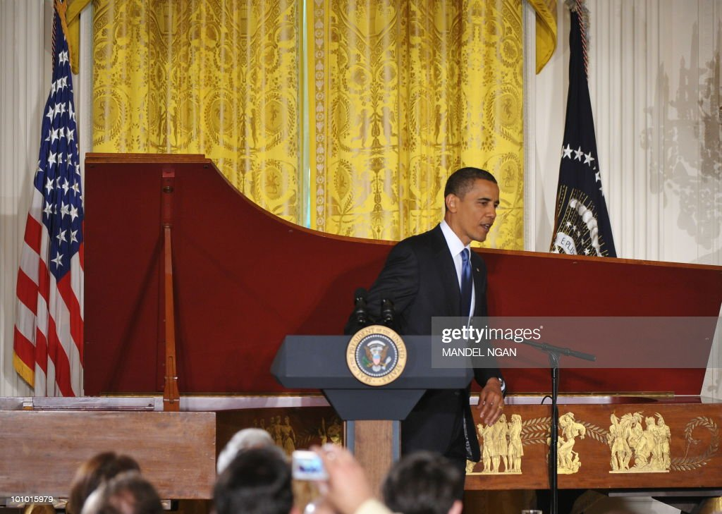 US President Barack Obama makes his way from the lectern after speaking during a reception celebrating Jewish American Heritage Month May 27, 2010 in the East Room of the the White House in Washington, DC. AFP PHOTO/Mandel NGAN