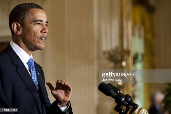 US President Barack Obama makes remarks as he welcomes the NCAA champion University of Connecticut women's basketball team during an event in the...