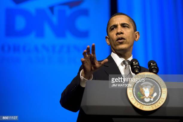 US President Barack Obama makes remarks at a Democratic National Committee fundraiser at the Warner Theater in Washington on March 25 2009 AFP...