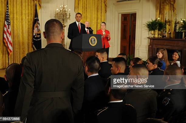 President Barack Obama makes remarks at a naturalization ceremony for active duty service members in the East Room US Citizenship and Immigration...