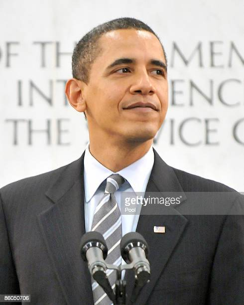 US President Barack Obama makes remarks to Central Intelligence Agency employees at the George Bush Center for Intelligence on April 20 2009 in...