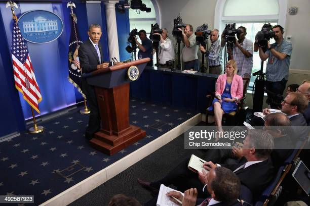 President Barack Obama makes statement to the news media about the recent problems at the Veterans Affairs Department in the Brady Press Briefing...