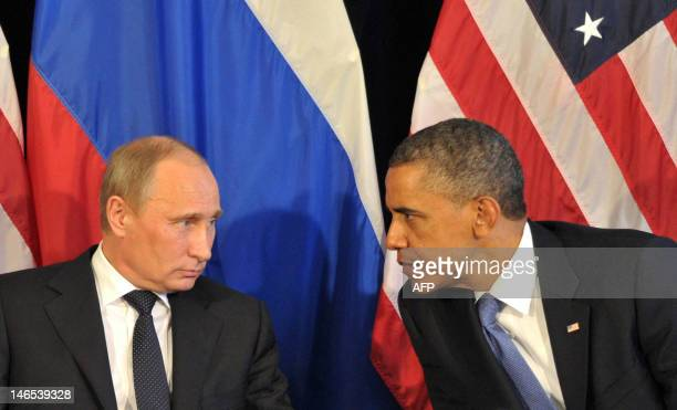 US President Barack Obama meets his Russian counterpart Vladimir Putin in Los Cabos Mexico on June 18 during the G20 leaders Summit Obama met today...