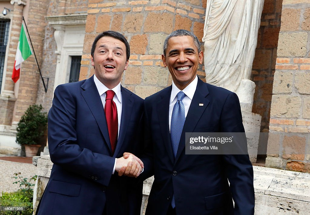 U.S. President <a gi-track='captionPersonalityLinkClicked' href=/galleries/search?phrase=Barack+Obama&family=editorial&specificpeople=203260 ng-click='$event.stopPropagation()'>Barack Obama</a> (R) meets Italian Premier <a gi-track='captionPersonalityLinkClicked' href=/galleries/search?phrase=Matteo+Renzi&family=editorial&specificpeople=6689301 ng-click='$event.stopPropagation()'>Matteo Renzi</a> (L) at Villa Madama on March 27, 2014 in Rome, Italy. The visit to Italy by Obama is part of a series of institutional meetings in Europe, which began in The Hague on March 24, with a summit on nuclear security.