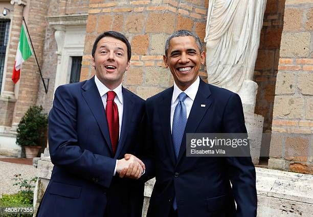 S President Barack Obama meets Italian Premier Matteo Renzi at Villa Madama on March 27 2014 in Rome Italy The visit to Italy by Obama is part of a...