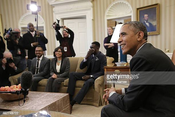 S President Barack Obama meets with a group of 'DREAMers' who have received Deferred Action for Childhood Arrivals in the Oval Office of the White...