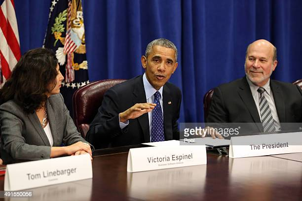 President Barack Obama meets with agriculture and business leaders at the Department of Agriculture October 6 2015 in Washington DC The President...