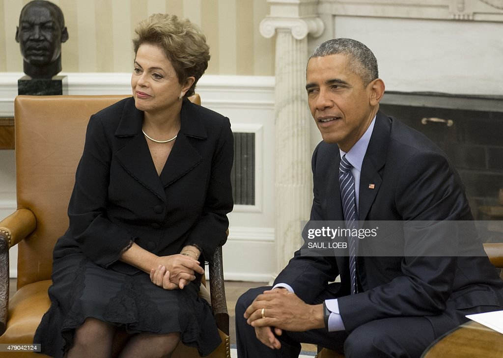 US President Barack Obama meets with Brazilian President Dilma Rousseff in the Oval Office of the White House in Washington, DC, June 30, 2015.