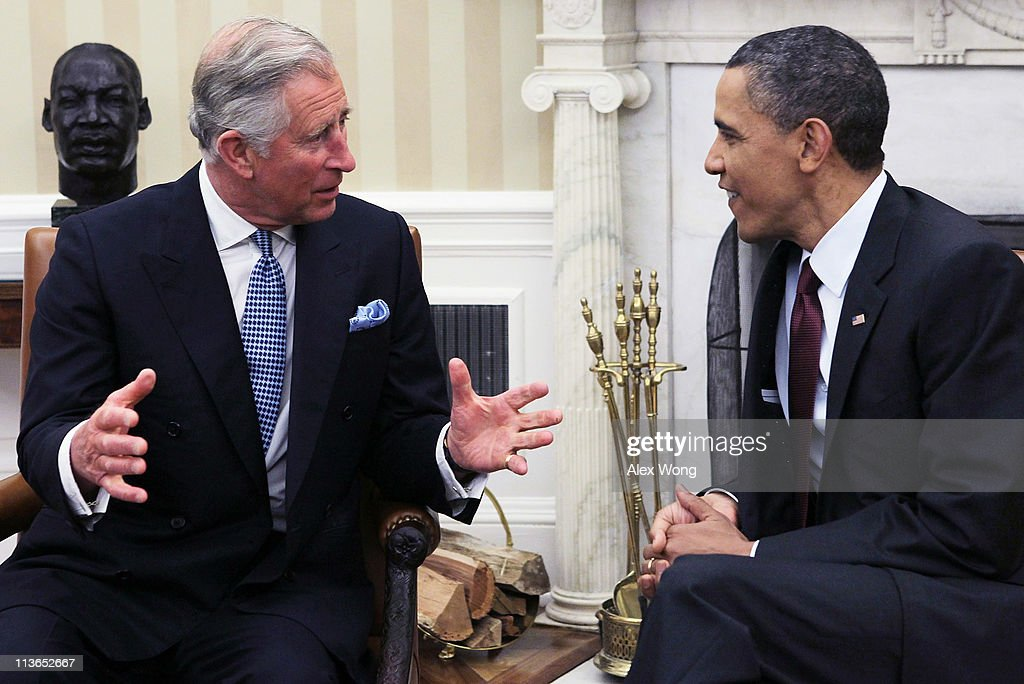 U.S. President <a gi-track='captionPersonalityLinkClicked' href=/galleries/search?phrase=Barack+Obama&family=editorial&specificpeople=203260 ng-click='$event.stopPropagation()'>Barack Obama</a> (R) meets with Britain's <a gi-track='captionPersonalityLinkClicked' href=/galleries/search?phrase=Prince+Charles&family=editorial&specificpeople=160180 ng-click='$event.stopPropagation()'>Prince Charles</a> (L), Prince of Wales, in the Oval Office of the White House May 4, 2011 in Washington, DC. <a gi-track='captionPersonalityLinkClicked' href=/galleries/search?phrase=Prince+Charles&family=editorial&specificpeople=160180 ng-click='$event.stopPropagation()'>Prince Charles</a> is on a three-day visit in the United States.