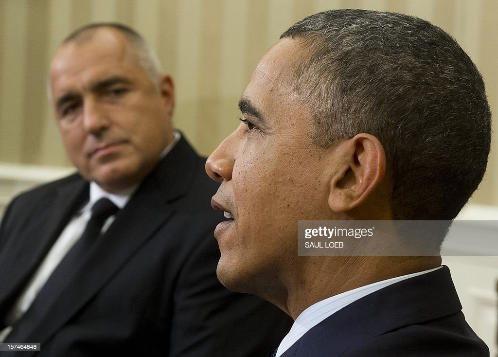 US President <a gi-track='captionPersonalityLinkClicked' href=/galleries/search?phrase=Barack+Obama&family=editorial&specificpeople=203260 ng-click='$event.stopPropagation()'>Barack Obama</a> meets with Bulgarian Prime Minister Boyko Borisov (L) in the Oval Office of the White House in Washington on December 3, 2012. AFP PHOTO / Saul LOEB