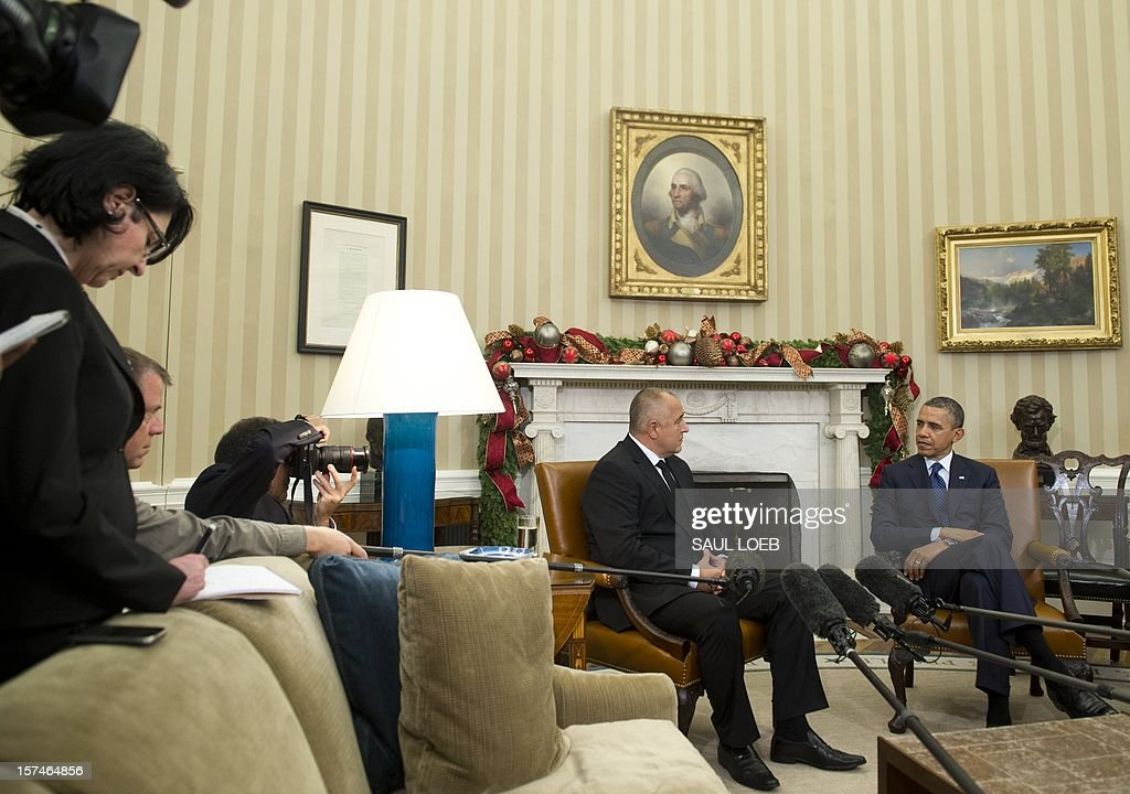 US President <a gi-track='captionPersonalityLinkClicked' href=/galleries/search?phrase=Barack+Obama&family=editorial&specificpeople=203260 ng-click='$event.stopPropagation()'>Barack Obama</a> meets with Bulgarian Prime Minister Boyko Borisov (L) in the Oval Office of the White House in Washington, DC, on December 3, 2012. AFP PHOTO / Saul LOEB