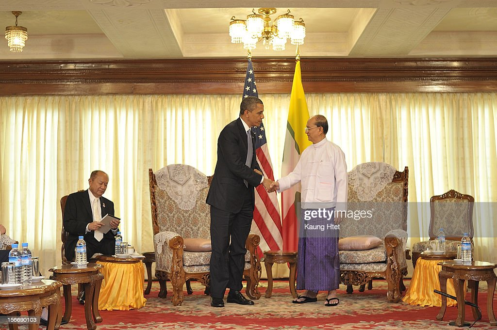 US President <a gi-track='captionPersonalityLinkClicked' href=/galleries/search?phrase=Barack+Obama&family=editorial&specificpeople=203260 ng-click='$event.stopPropagation()'>Barack Obama</a> meets with Burmese President U Thein Sein (R) at Yangon Regional Parliament during his historical visit to the country on November 19, 2012 in Yangon, Myanmar. Obama is the first US President to visit Myanmar while on a four-day tour of Southeast Asia that also includes Thailand and Cambodia.