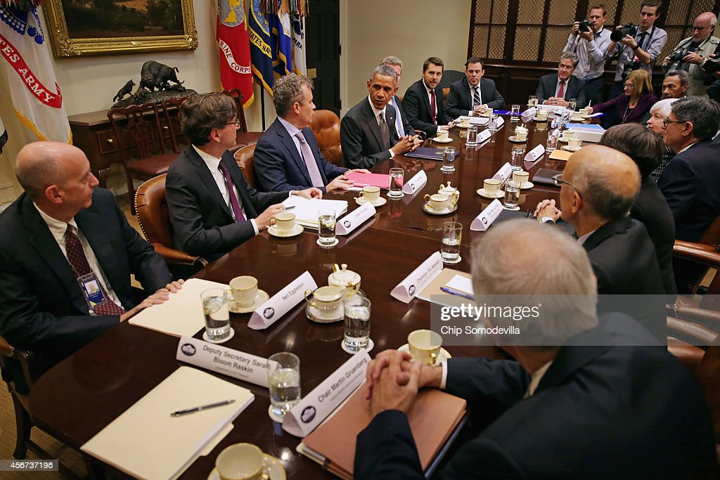 S President Barack Obama meets with federal financial regulators including White House Counsel Neil Eggleston Council of Economic Advisors Chairman...