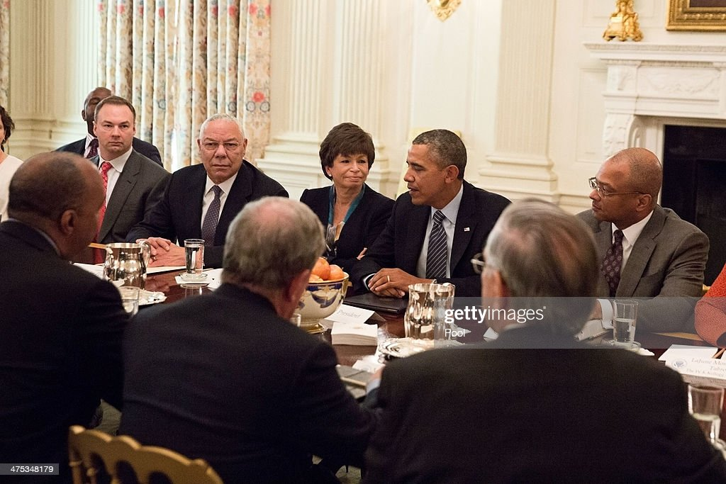 U.S. President <a gi-track='captionPersonalityLinkClicked' href=/galleries/search?phrase=Barack+Obama&family=editorial&specificpeople=203260 ng-click='$event.stopPropagation()'>Barack Obama</a> meets with foundation and business leaders regarding his 'My Brother's Keeper' initiative, the State Dining Room of the White House, on February 27, 2014 in Washington, D.C. Sitting to the left of President Obama are Senior Advisor <a gi-track='captionPersonalityLinkClicked' href=/galleries/search?phrase=Valerie+Jarrett&family=editorial&specificpeople=5003206 ng-click='$event.stopPropagation()'>Valerie Jarrett</a> and former Secretary of State <a gi-track='captionPersonalityLinkClicked' href=/galleries/search?phrase=Colin+Powell&family=editorial&specificpeople=118599 ng-click='$event.stopPropagation()'>Colin Powell</a>. The 'My Brother's Keeper' initiative seeks to expand opportunity for minority young men.