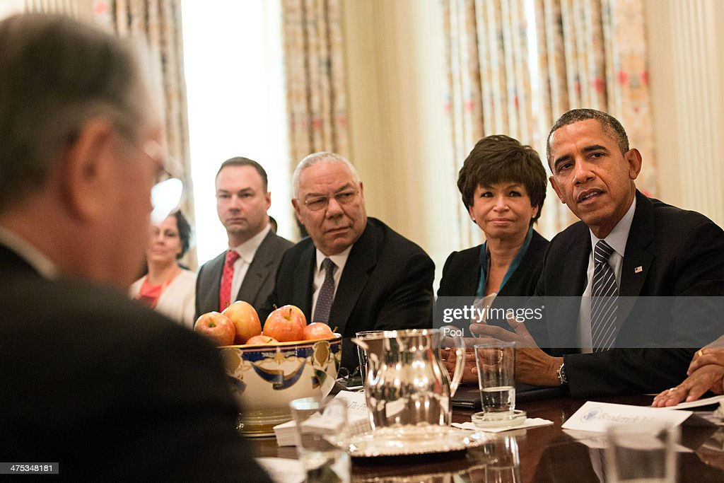 S President Barack Obama meets with foundation and business leaders regarding his 'My Brother's Keeper' initiative the State Dining Room of the White...