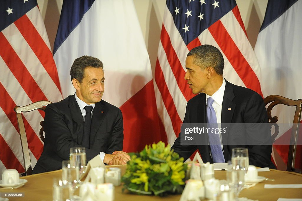 U.S. President <a gi-track='captionPersonalityLinkClicked' href=/galleries/search?phrase=Barack+Obama&family=editorial&specificpeople=203260 ng-click='$event.stopPropagation()'>Barack Obama</a> meets with French President <a gi-track='captionPersonalityLinkClicked' href=/galleries/search?phrase=Nicolas+Sarkozy&family=editorial&specificpeople=211375 ng-click='$event.stopPropagation()'>Nicolas Sarkozy</a> at the Waldorf Astoria Hotel September 21, 2011 in New York City. World leaders have converged on Manhattan for the annual opening of the United Nations General Assembly.