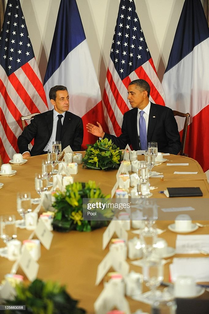 U.S. President <a gi-track='captionPersonalityLinkClicked' href=/galleries/search?phrase=Barack+Obama&family=editorial&specificpeople=203260 ng-click='$event.stopPropagation()'>Barack Obama</a> meets with French President Nicolas Sarkozy at the Waldorf Astoria Hotel September 21, 2011 in New York City. World leaders have converged on Manhattan for the annual opening of the United Nations General Assembly.