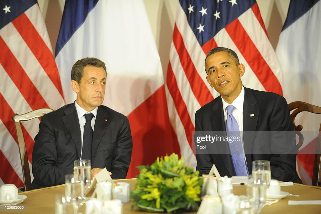 U.S. President Barack Obama meets with French President Nicolas Sarkozy at the Waldorf Astoria Hotel September 21, 2011 in New York City. World leaders have converged on Manhattan for the annual opening of the United Nations General Assembly.
