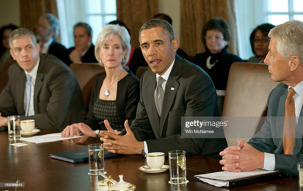 U.S. President Barack Obama (2R) meets with his Cabinet at the White House March 4, 2013 in Washington, DC. Obama and Congress remain locked in stalled budget negotiations as the effect of the sequestration begin to impact the U.S. economy.