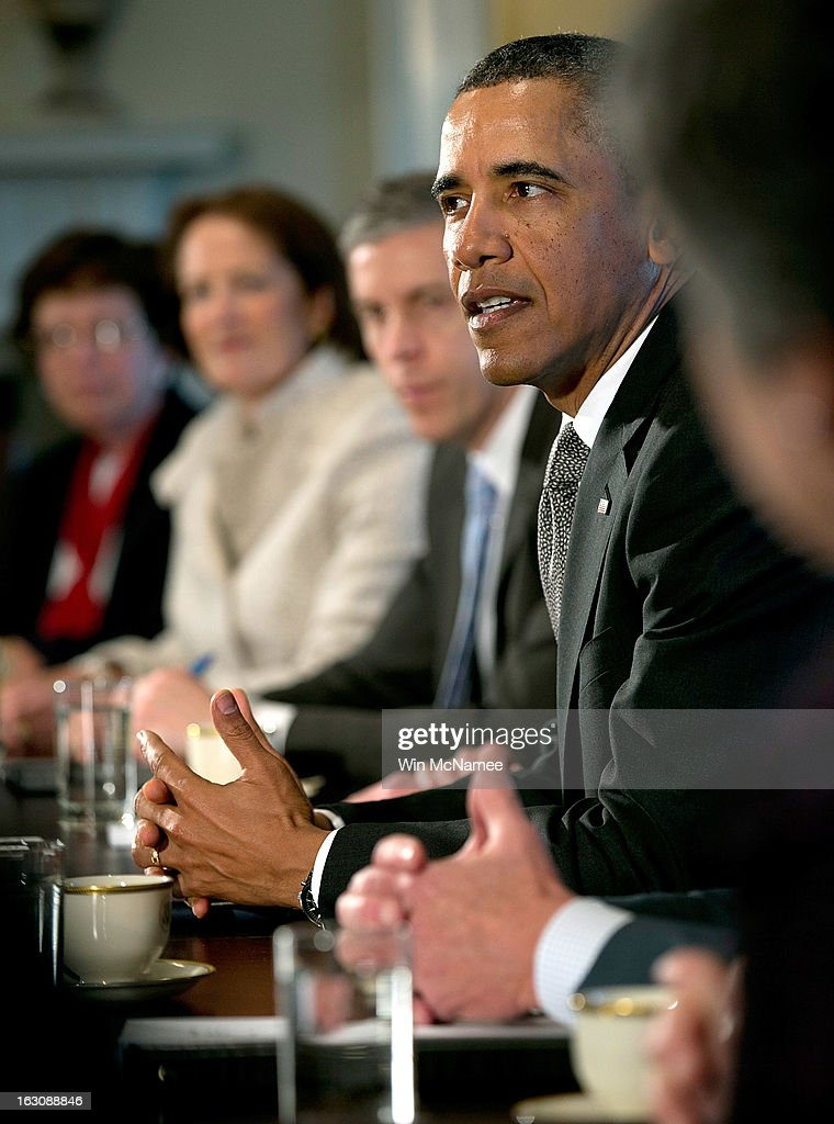U.S. President <a gi-track='captionPersonalityLinkClicked' href=/galleries/search?phrase=Barack+Obama&family=editorial&specificpeople=203260 ng-click='$event.stopPropagation()'>Barack Obama</a> meets with his Cabinet at the White House March 4, 2013 in Washington, DC. Obama and Congress remain locked in stalled budget negotiations as the effect of the sequestration begin to impact the U.S. economy.