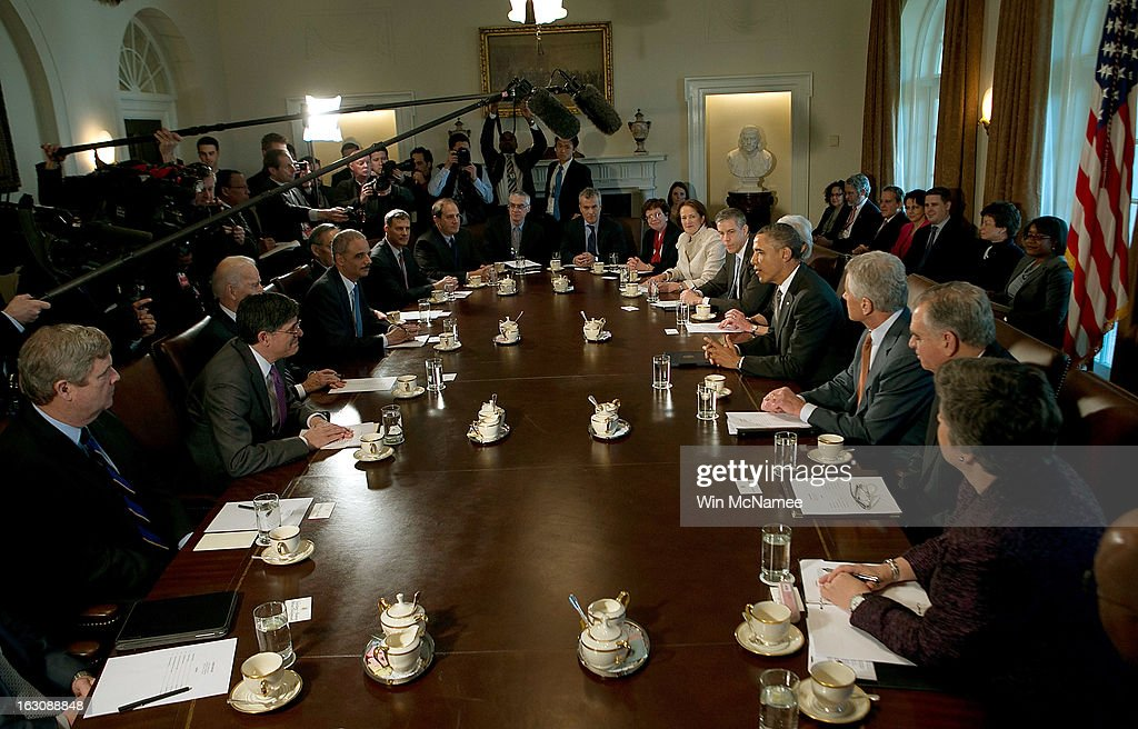 U.S. President <a gi-track='captionPersonalityLinkClicked' href=/galleries/search?phrase=Barack+Obama&family=editorial&specificpeople=203260 ng-click='$event.stopPropagation()'>Barack Obama</a> (R) meets with his Cabinet at the White House March 4, 2013 in Washington, DC. Obama and Congress remain locked in stalled budget negotiations as the effect of the sequestration begin to impact the U.S. economy.