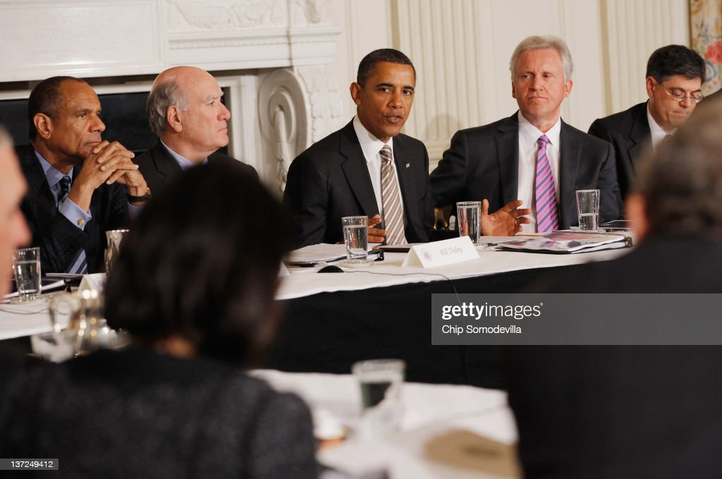 U.S. President <a gi-track='captionPersonalityLinkClicked' href=/galleries/search?phrase=Barack+Obama&family=editorial&specificpeople=203260 ng-click='$event.stopPropagation()'>Barack Obama</a> (C) meets with his Council on Jobs and Competitiveness, group of business leaders tapped to come up with job-spurring ideas, including (L-R) American Express Chairman and CEO Kenneth Chenault, White House Chief of Staff William Daley, General Electric CEO Jeffrey Imelt and Office of Management and Budget Director Jacob Lew, in the State Dining Room at the White House January 17, 2012 in Washington, DC. Headed by General Electric CEO Jeffrey Imelt, the council released a report with suggestions, including investment in education and research and development, support for the manufacturing sector and reform in the tax and regulatory systems.