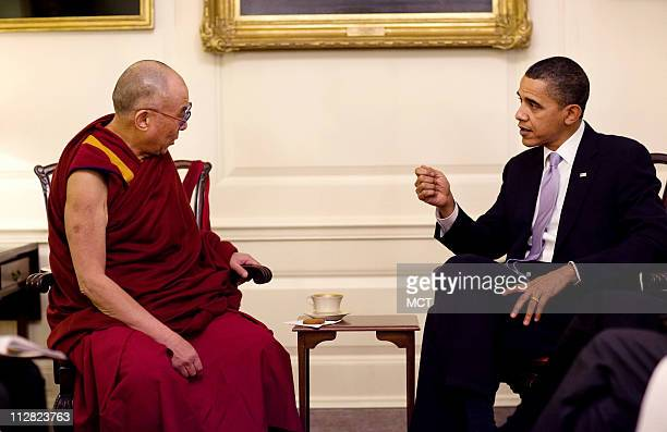 President Barack Obama meets with His Holiness the Dalai Lama in the Map Room of the White House February 18 2010