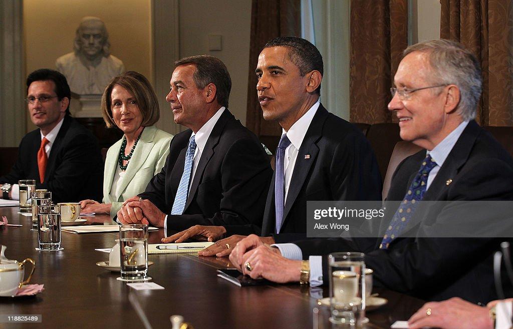 US President Barack Obama meets with House Majority Leader Rep Eric Cantor House Minority Leader Rep Nancy Pelosi Speaker of the House Rep John...