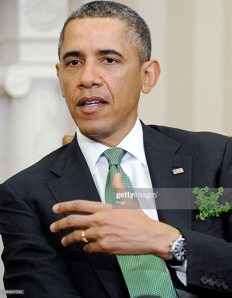 U.S. President Barack Obama meets with Irish Prime Minister Enda Kenny in the Oval Office of the White House March 19, 2013 in Washington, DC. Later in the day Kenny will have lunch at the U.S. Capitol with the Friends of Ireland.
