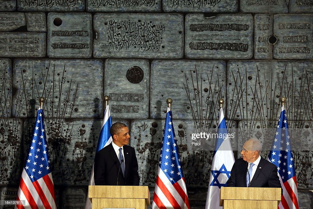 U.S. President <a gi-track='captionPersonalityLinkClicked' href=/galleries/search?phrase=Barack+Obama&family=editorial&specificpeople=203260 ng-click='$event.stopPropagation()'>Barack Obama</a> (L) meets with Israeli President Shimon Peres (R) during a welcome ceremony at the President's residence on March 20, 2013 in Jerusalem, Israel. This will be Obama's first visit as president to the region, and his itinerary will include meetings with the Palestinian and Israeli leaders as well as a visit to the Church of the Nativity in Bethlehem.