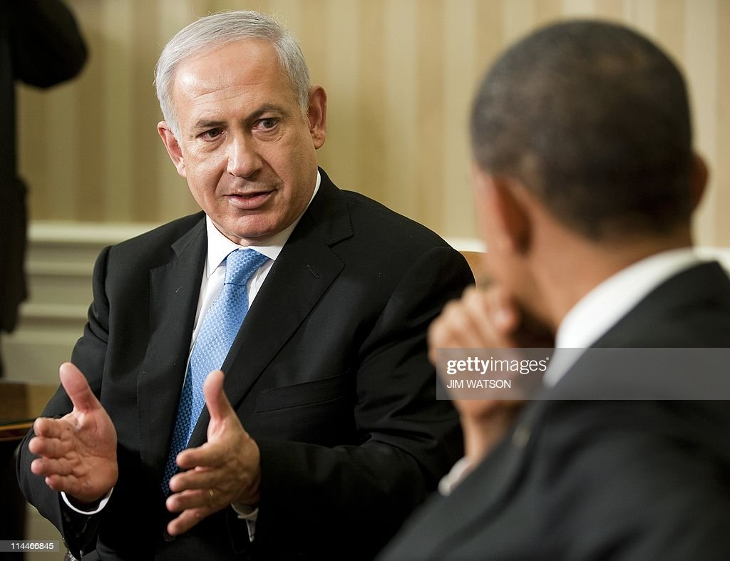 US President <a gi-track='captionPersonalityLinkClicked' href=/galleries/search?phrase=Barack+Obama&family=editorial&specificpeople=203260 ng-click='$event.stopPropagation()'>Barack Obama</a> (R) meets with Israeli Prime Minister Benjamin Netanyahu in the Oval Office of the White House in Washington, DC, May 20, 2011. Obama announced on Thursday in his long-awaited speech on the 'Arab Spring' revolts that territorial lines in place before the 1967 Arab-Israeli war should be the basis for a peace deal, a move Netanyahu has long opposed. AFP PHOTO / Jim WATSON