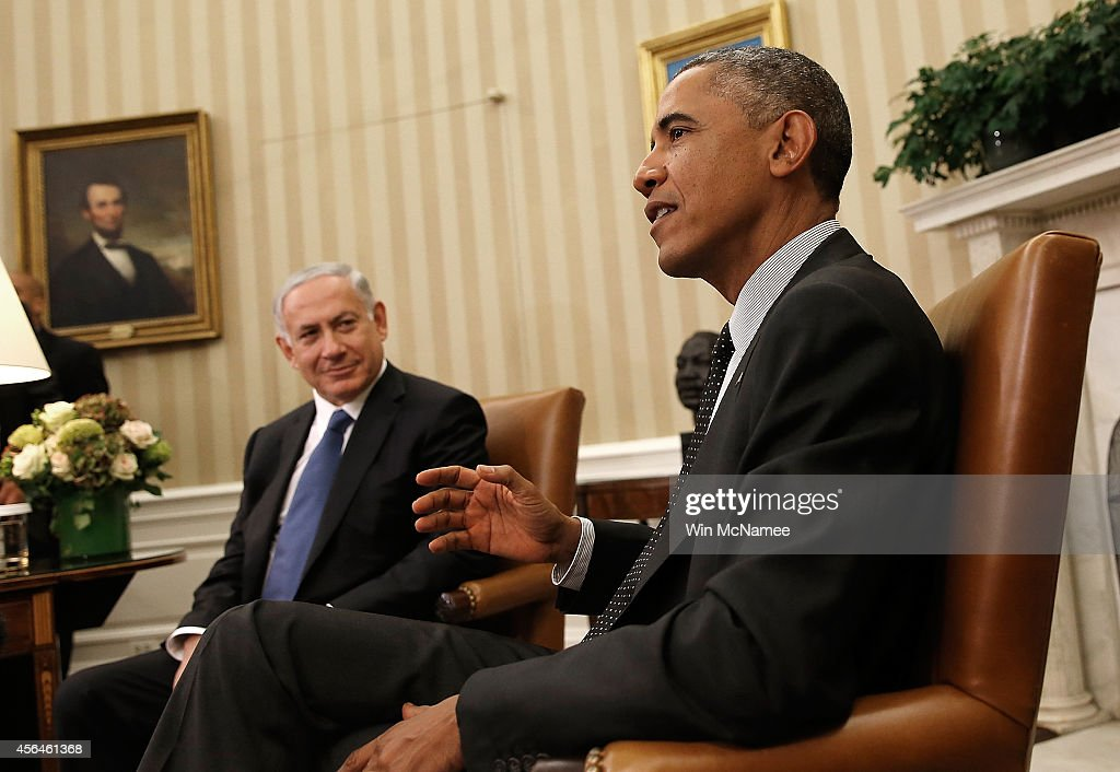 U.S. President <a gi-track='captionPersonalityLinkClicked' href=/galleries/search?phrase=Barack+Obama&family=editorial&specificpeople=203260 ng-click='$event.stopPropagation()'>Barack Obama</a> (R) meets with Israeli Prime Minister Benjamin Netanyahu (L) in the Oval Office of the White House October 1, 2014 in Washington, DC. Obama and Netanyahu were expected to discuss a wide range of bilateral issues during their meeting, including U.S. efforts against the Islamic State in Syria and Iraq, Iranian nuclear capabilities, and the ongoing conflict between Israel and Palestinians in Gaza.