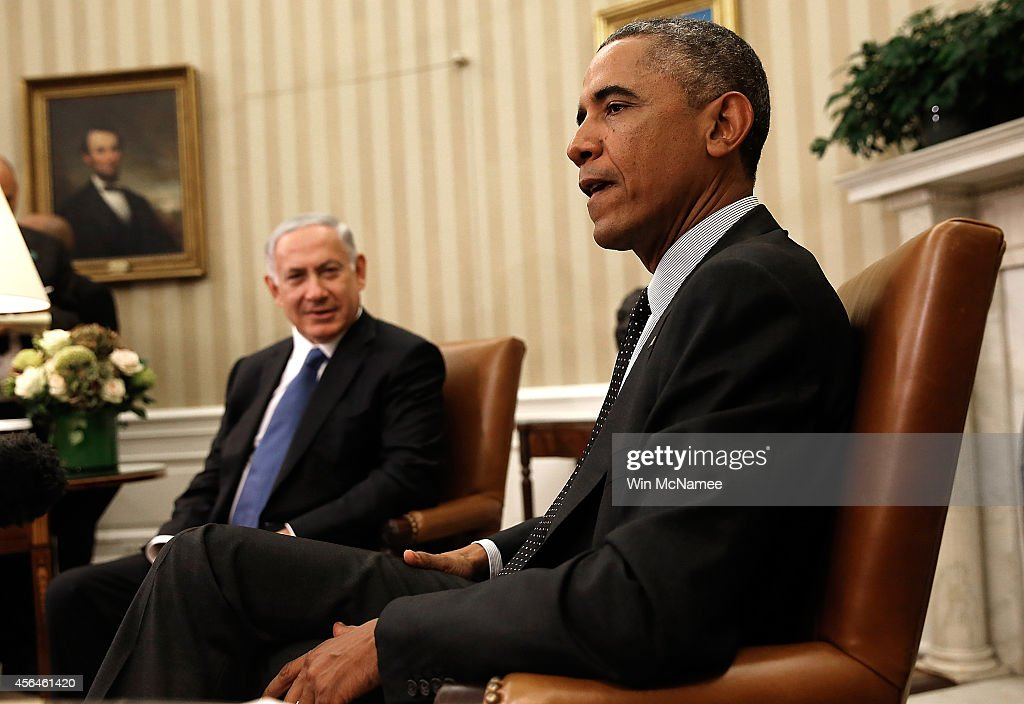 U.S. President <a gi-track='captionPersonalityLinkClicked' href=/galleries/search?phrase=Barack+Obama&family=editorial&specificpeople=203260 ng-click='$event.stopPropagation()'>Barack Obama</a> (R) meets with Israeli Prime Minister <a gi-track='captionPersonalityLinkClicked' href=/galleries/search?phrase=Benjamin+Netanyahu&family=editorial&specificpeople=118594 ng-click='$event.stopPropagation()'>Benjamin Netanyahu</a> (L) in the Oval Office of the White House October 1, 2014 in Washington, DC. Obama and Netanyahu were expected to discuss a wide range of bilateral issues during their meeting, including U.S. efforts against the Islamic State in Syria and Iraq, Iranian nuclear capabilities, and the ongoing conflict between Israel and Palestinians in Gaza.