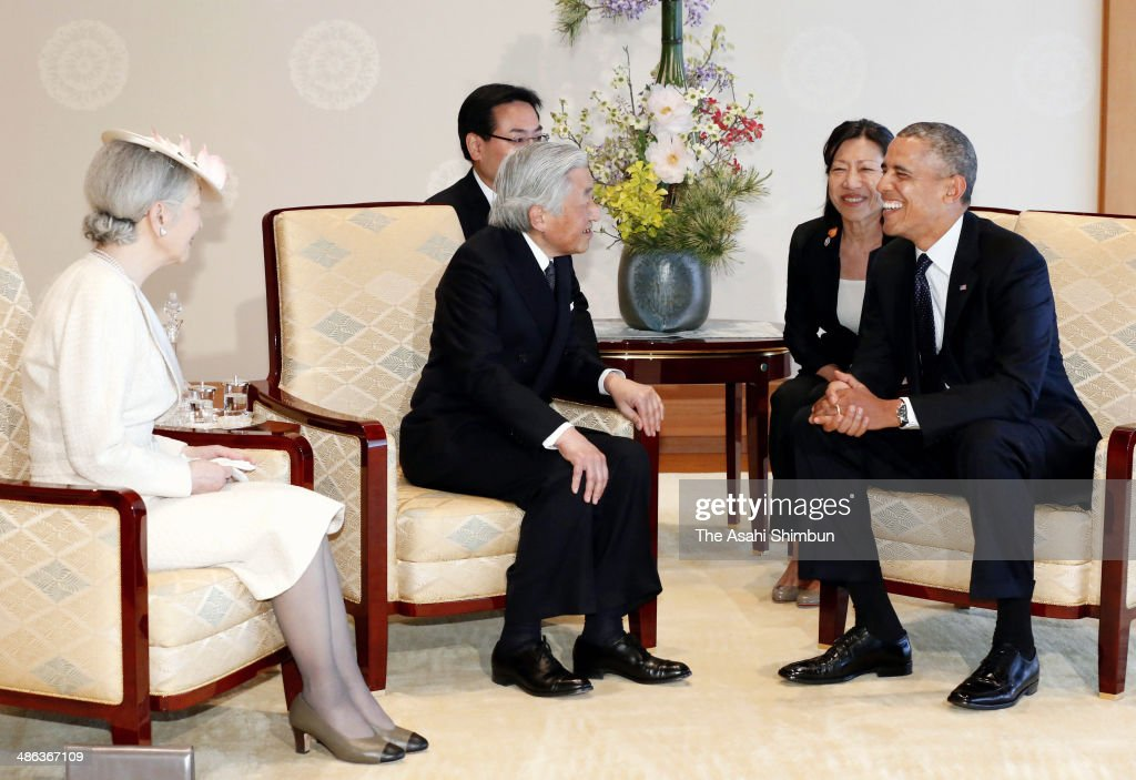 U.S. President <a gi-track='captionPersonalityLinkClicked' href=/galleries/search?phrase=Barack+Obama&family=editorial&specificpeople=203260 ng-click='$event.stopPropagation()'>Barack Obama</a> (R) meets with Japanese Emperor Akihito (C) and <a gi-track='captionPersonalityLinkClicked' href=/galleries/search?phrase=Empress+Michiko&family=editorial&specificpeople=158725 ng-click='$event.stopPropagation()'>Empress Michiko</a> (L) at the Imperial Palace on April 24, 2014 in Tokyo, Japan. The U.S. President is on an Asian tour where he is due to visit Japan, South Korea, Malaysia and Philippines.