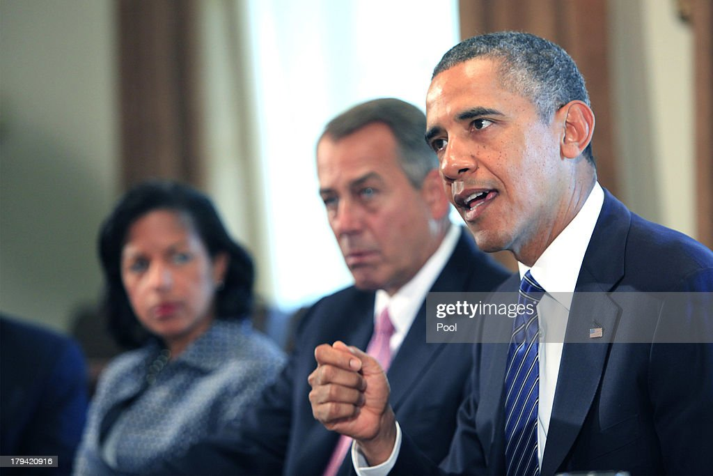 U.S. President <a gi-track='captionPersonalityLinkClicked' href=/galleries/search?phrase=Barack+Obama&family=editorial&specificpeople=203260 ng-click='$event.stopPropagation()'>Barack Obama</a> (R) meets with members of Congress in the cabinet room of the White House on September 3, 2013 in Washington, DC. Obama is urging Congress to authorize military action against Syria, and says he is willing to work with lawmakers on the wording of a specific resolution.