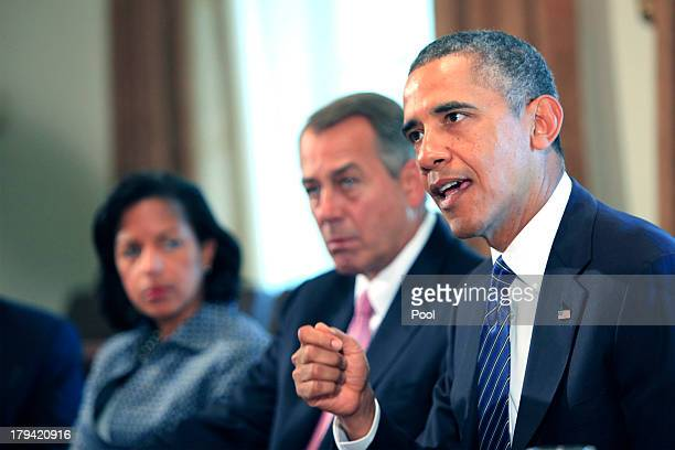 US President Barack Obama meets with members of Congress in the cabinet room of the White House on September 3 2013 in Washington DC Obama is urging...