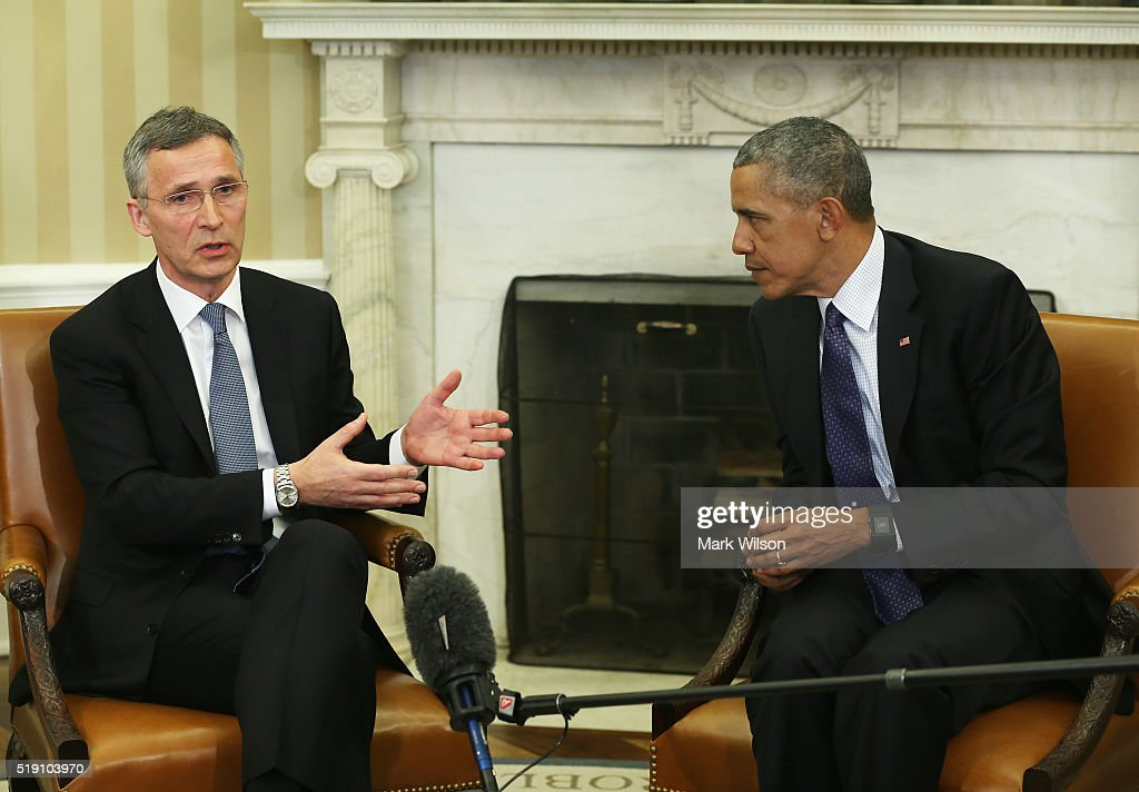 U.S. President <a gi-track='captionPersonalityLinkClicked' href=/galleries/search?phrase=Barack+Obama&family=editorial&specificpeople=203260 ng-click='$event.stopPropagation()'>Barack Obama</a> (R) meets with NATO Secretary General <a gi-track='captionPersonalityLinkClicked' href=/galleries/search?phrase=Jens+Stoltenberg&family=editorial&specificpeople=558620 ng-click='$event.stopPropagation()'>Jens Stoltenberg</a> in the Oval Office at the White House on April 4, 2016 in Washington, DC. Obama and Stoltenberg discussed how NATO could assist in training troops to fight ISIS.