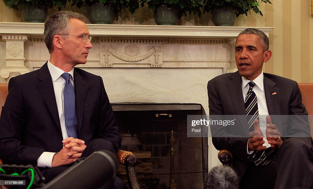 U.S. President <a gi-track='captionPersonalityLinkClicked' href=/galleries/search?phrase=Barack+Obama&family=editorial&specificpeople=203260 ng-click='$event.stopPropagation()'>Barack Obama</a> meets with NATO Secretary-General <a gi-track='captionPersonalityLinkClicked' href=/galleries/search?phrase=Jens+Stoltenberg&family=editorial&specificpeople=558620 ng-click='$event.stopPropagation()'>Jens Stoltenberg</a> in the Oval Office of the White House on May 26,2015 in Washington, DC. Obama said the United States is working closely with NATO in the fight against ISIL .