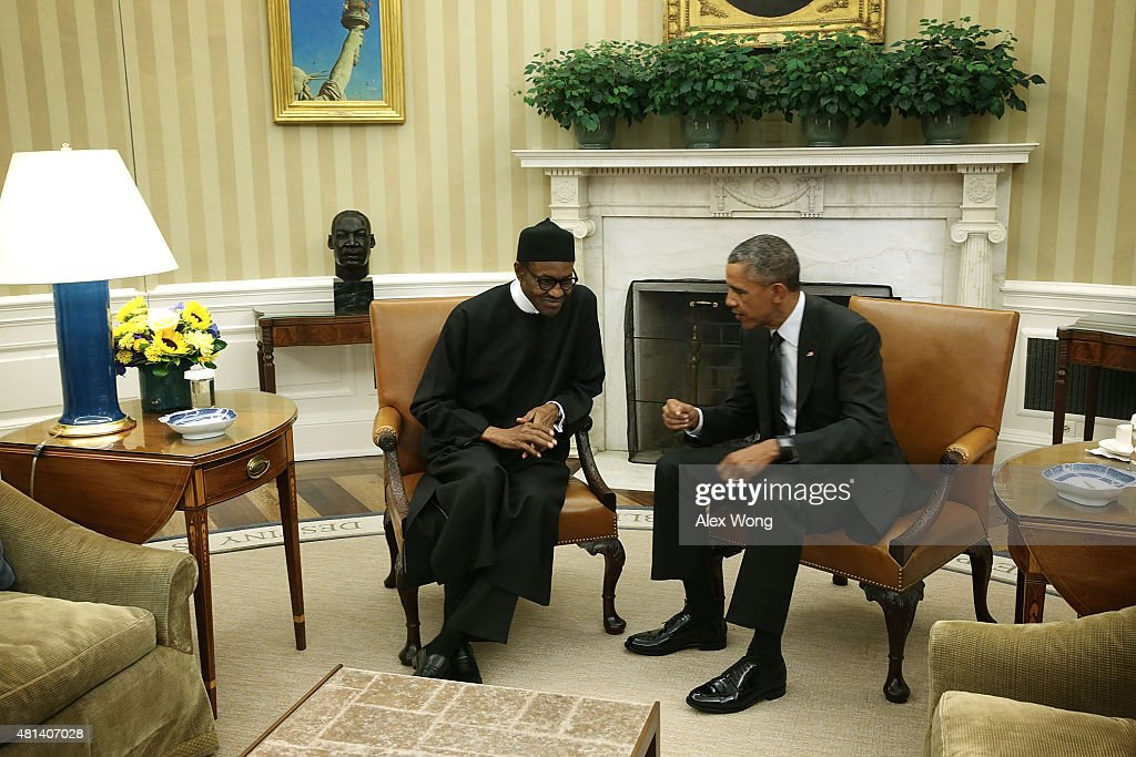 oval office july 2015. us president barack obama r meets with nigerian muhammadu buhari l oval office july 2015