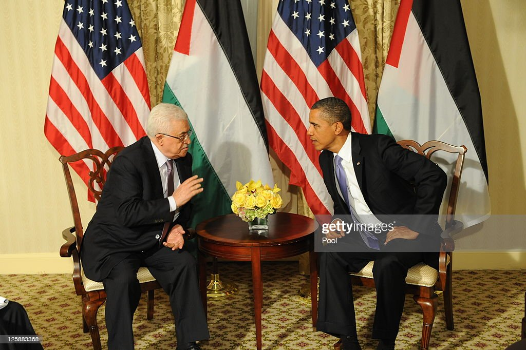 U.S. President <a gi-track='captionPersonalityLinkClicked' href=/galleries/search?phrase=Barack+Obama&family=editorial&specificpeople=203260 ng-click='$event.stopPropagation()'>Barack Obama</a> meets with Palestinian President <a gi-track='captionPersonalityLinkClicked' href=/galleries/search?phrase=Mahmoud+Abbas&family=editorial&specificpeople=176534 ng-click='$event.stopPropagation()'>Mahmoud Abbas</a> at the Waldorf Astoria Hotel September 21, 2011 in New York City. World leaders have converged on Manhattan for the annual opening of the United Nations General Assembly.