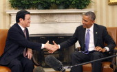 President Barack Obama meets with President Truong Tan Sang of Vietnam in the Oval Office on July 25 2013 in Washington DC The visit is seen as an...