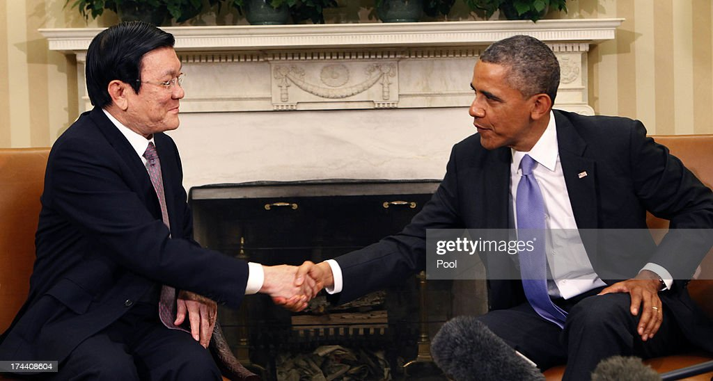 President Barack Obama meets with President Truong Tan Sang of Vietnam in the Oval Office on July 25, 2013 in Washington, D.C. The visit is seen as an important step in improving U.S.-Vietnam relations. Mr. Sang is the second Vietnamese president to visit the White House since 1995.