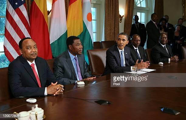 S President Barack Obama meets with Presidents Mahamadou Issoufou of Niger Boni Yayi of Benin Alpha Conde of Guinea and Alassane Ouattara of Ivory...