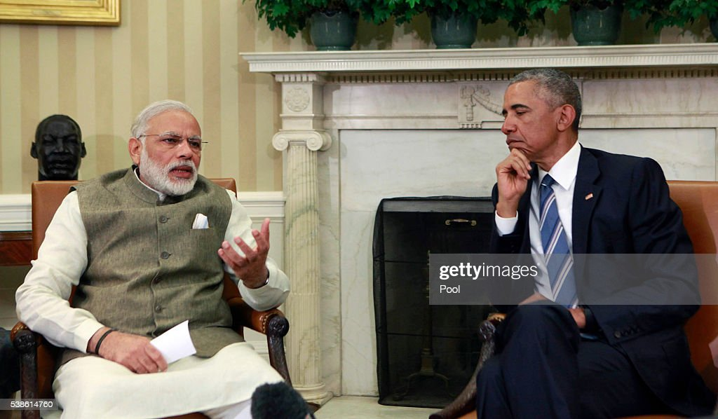 Indian pm modi meets with president obama at the white - Prime minister of india office address ...