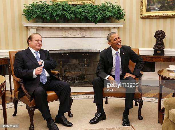 President Barack Obama meets with Prime Minister Nawaz Sharif of Pakistan in the Oval Office of the White House October 22 2015 in Washington DC The...